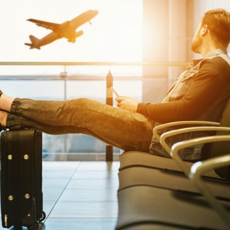 Man waiting to board flight